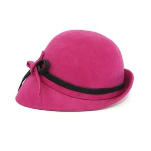 NWOT Fuchsia Asymmetrical Wool Hat - Made in Italy